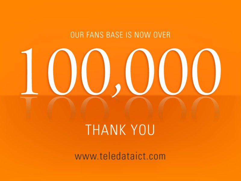 Teledata Official Facebook Page Hits 100000 Likes